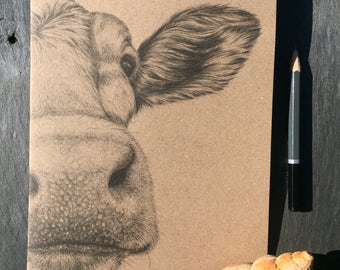 A5 kraft notebook Guernsey cow pencil drawing