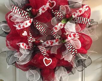 Valentine wreath, Valentine home decor