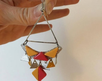 triangle and drops earrings