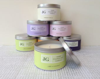 Lime & Coconut scented soy candle tin