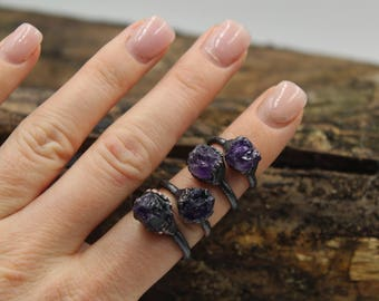 Calming Stone Ring / Raw Amethyst Ring / Rough Rock Ring / Dark Purple Ring / Raw Purple Ring / Rough Amethyst Ring / Strength Ring /