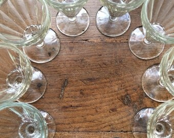 10 small vintage french wine glasses