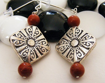 Southwestern Earrings, Silver and Coral