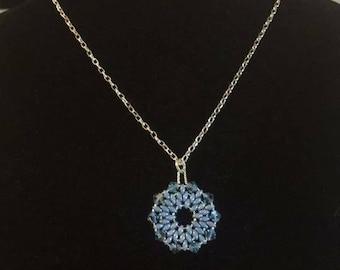 Blue Pendant Silver Chain Necklace