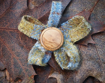 Handmade Harris Tweed Flower Brooches  approx 9cm x 9cm (Mustard)