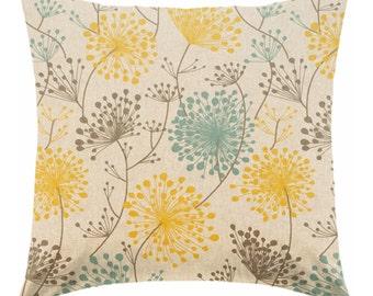 yellow pillow - gray pillows - tan pillow - taupe pillow - pillow cover only - cushion cover -ZIPPER CLOSURE