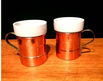 Vintage Copper and Brass Mugs Tea Glasses with Ceramic Inserts - Set of 2