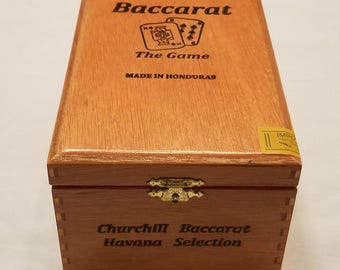 Wooden Cigar Box, Brown, Baccarat, the Game, Churchill Havana Selection, Honduras