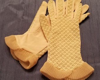 1950's Vintage Gloves, Cream Color, Lacy Stretch Nylon, with Frilly Cuffs