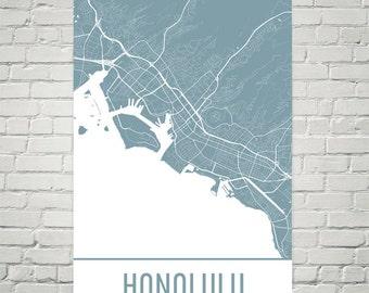 Honolulu Map, Honolulu Art, Honolulu Print, Honolulu HI Poster, Honolulu Wall Art, Honolulu Gift, Map of Honolulu, Honolulu Decor, Modern
