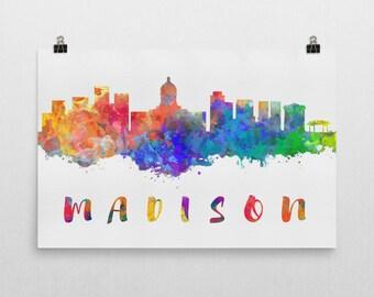 Madison Skyline, Madison Skyline Canvas, Madison Skyline Art, Madison Watercolor Skyline, Skyline of Madison, Art, Poster, Gift