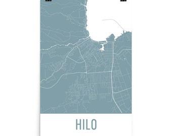 Hilo Map, Hilo Art, Hilo Print, Hilo Hawaii Poster, Hilo Wall Art, Map of Hilo, Hilo Hawaii, Hilo Decor, Hilo Gift, Hilo Map Art Print