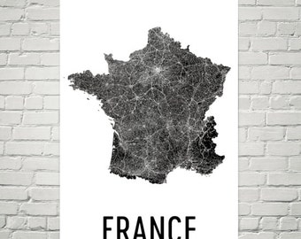 France Map, Map of France, French Art, French Decor, French Print, French Poster, French Wall Art, French Gifts, French Map, France Print