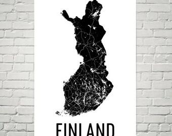 Finland Map, Map of Finland, Finnish Art, Finland Print, Finland Wall Art, Finnish Gifts, Finland Decor, Finland Map Print, Finnish Print