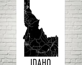 Idaho Map, Idaho Sign, Idaho Art, Idaho Print, Idaho Wall Art, Idaho Poster, Idaho Gift, Map of Idaho, Idaho State, Idaho Decor, Idahome
