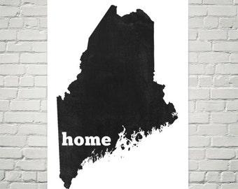 Maine Home, Map of Maine, Maine Print, Maine Gifts, Maine Art, Maine Map, Maine Decor, Maine Wall Art, Maine Made, Maine Poster, Map Art