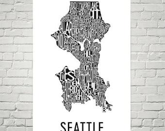 Seattle Typography Neighborhood Map Art City Print, Seattle Wall Art, Seattle Art Poster, Gift, Map of Seattle, Seattle Artwork, Washington