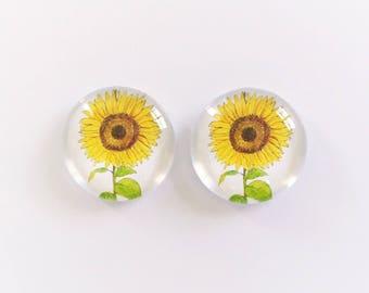 The 'Sunflower' Glass Earring Studs