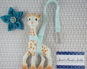 Sophie the Giraffe Leash/Toy Saver - Blue