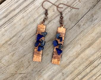 Boho Dangle Wire wrap Copper earrings