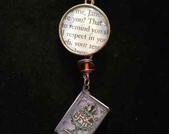 Jane Eyre Book Charm Necklace