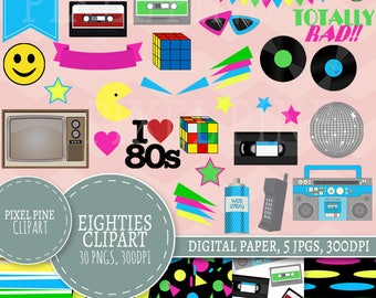 Eighties Clipart Set, 30 PNGs, 5 1980s Disco Digital Paper JPGs, Commercial Use, Disco 80s clipart, 80s clip art set, love eighties clipart