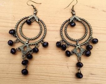 Vintage bronze tone black beads chandelier dangling earrings