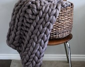 AVAILABLE NOW - 48x60 Chunky Knit Merino Wool Blanket