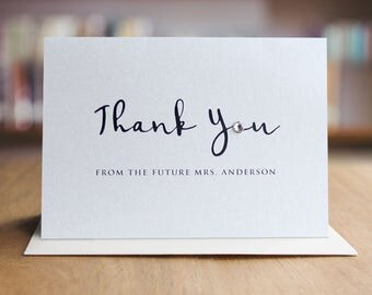 Thank You Note Card with  Swarovski Crystals / Elegant Thank You Cards / Modern Stationery / Folded Shimmer Note Cards - T393