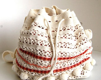 Crochet summer bag - Crochet shoulderbag with beads - Crochet beaded summer handbag