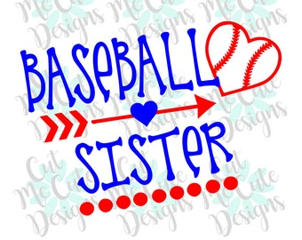 SVG DXF PNG cut file cricut silhouette cameo scrapbooking Baseball Sister