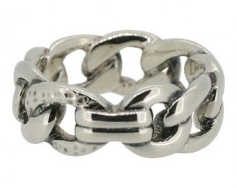 Monet 1980's Silver Plated Chainlink Vintage Ring