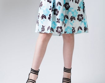 Women's skirt, front pleat skirt, pleated skirt,  A-line skirt, floral print skirt, flower detail, women's fashion, graphic skirt, skirt