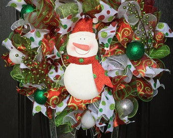 Polka Dot Snowman Wreath, winter wreath, holiday wreath, holiday decor, snowman decor, christmas wreath