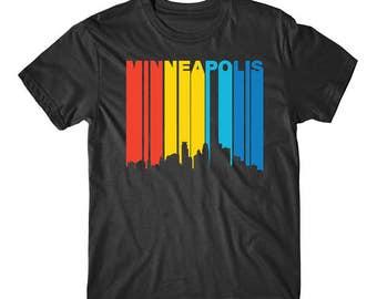 Retro 1970's Style Minneapolis Minnesota Downtown Skyline T-Shirt