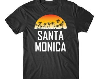 Santa Monica Sunset And Palm Trees Beach Vacation T-Shirt