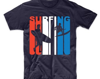 Retro Style Red White And Blue Surfing T-Shirt