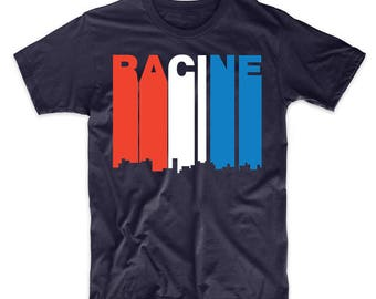 Retro Style Red White And Blue Racine Wisconsin Skyline T-Shirt