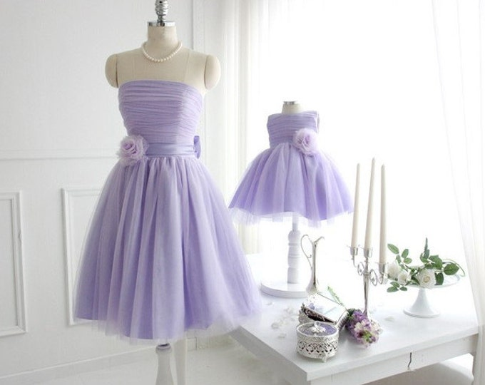 Mother Daughter matching dress Violet Mommy and Me Tutu dress Mom Baby Dress with Flower Dress for Wedding Ball Gowns Bridesmaid dress