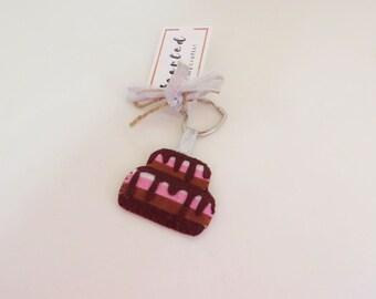 Felt cake keychain