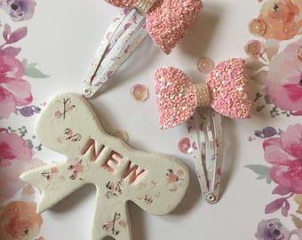 Pink Glitter Snap Clip Set