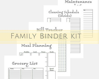 Printable Planner, Organizer, Cleaning Schedule, Daily Planner, Babysitter Notes, Budget Printable, Bill Tracker, 23 pages INSTANT DOWNLOAD
