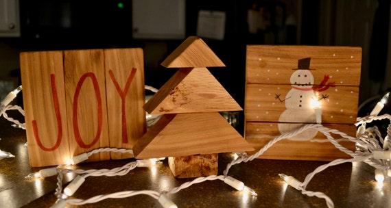 1126 Designs Christmas Decor | Set of 3 | Christmas Blocks | Snowman Christmas Tree Joy