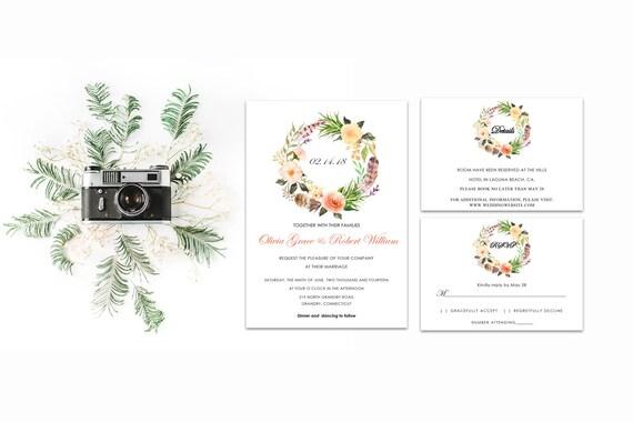 Floral wedding invite word_45,INSTANT DOWNLOAD, Editable Wedding template invitation. Microsoft Word template.Wedding Printable