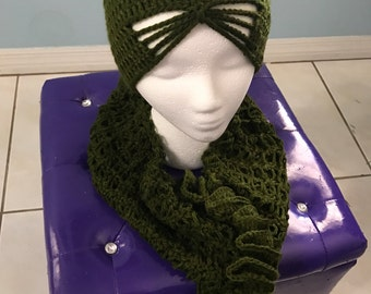 Crochet Hat and Infinity Scarf - Olive