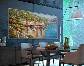 "Portofino Italian Seascape 27x71""/70x180cm large Italian Art painting"