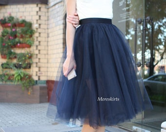 "Tulle skirt with matching lining, fixed waistband with hidden zipper  ""sun-shaped"" (color - 54 Ocean)"