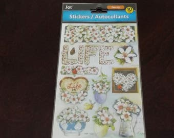 Scrap-booking Stickers Paper Craft Life Flowers Vase Plants Spring colorful Autocollants Ten (10)