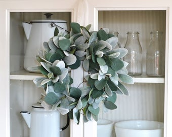 Lambs Ear and Eucalyptus Wreath, Spring Wreath, Farmhouse Wreath, Wreath to Hang Over a Mirror, Greenery Wreath, Blue Green Decor