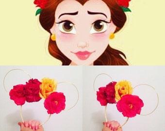 Belle flower crown minnie ears